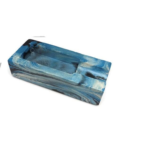 Concrete Cigar Rest - Blue Marbled