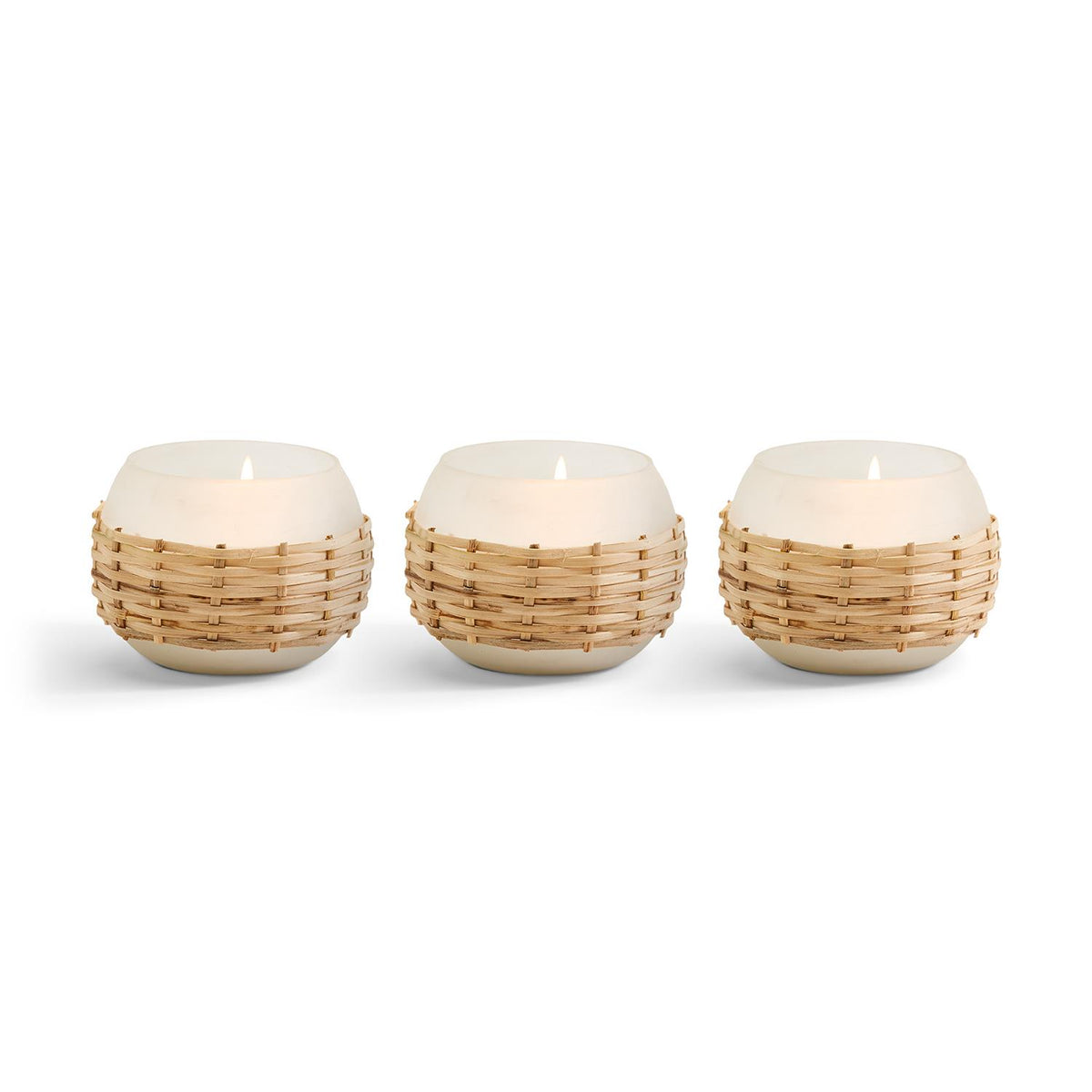 Frosted White and Rattan Candle