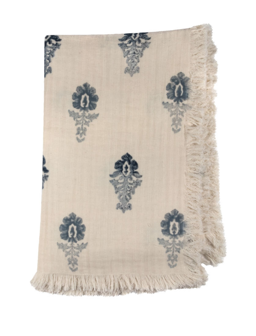 Ombre Flower Block Print Throw