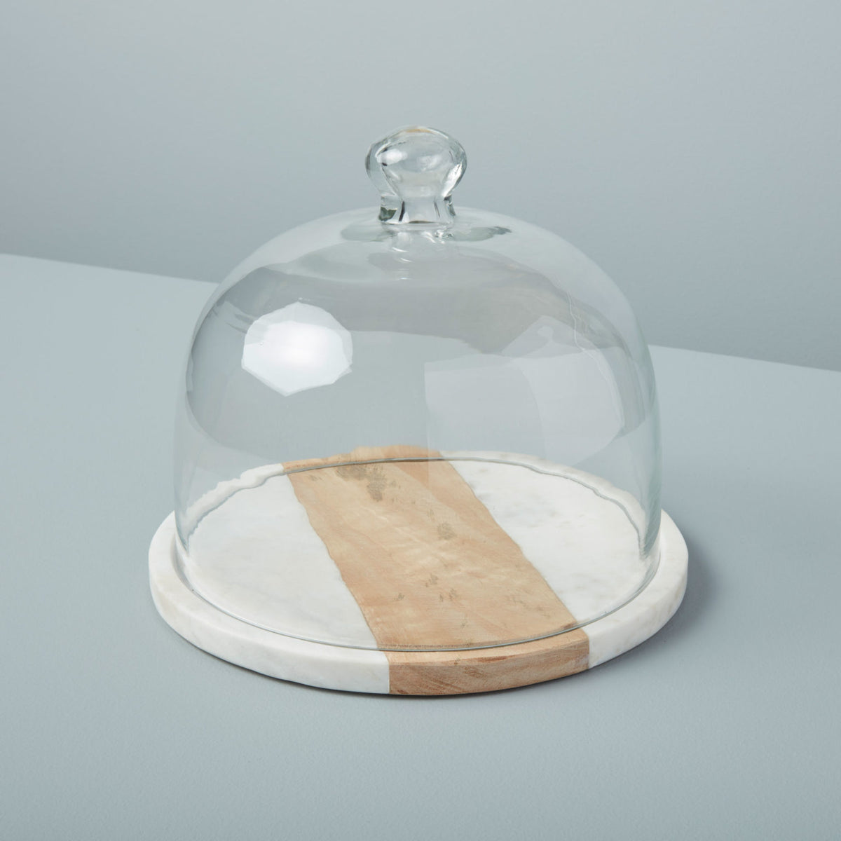 White Marble & Wood Glass Cloche
