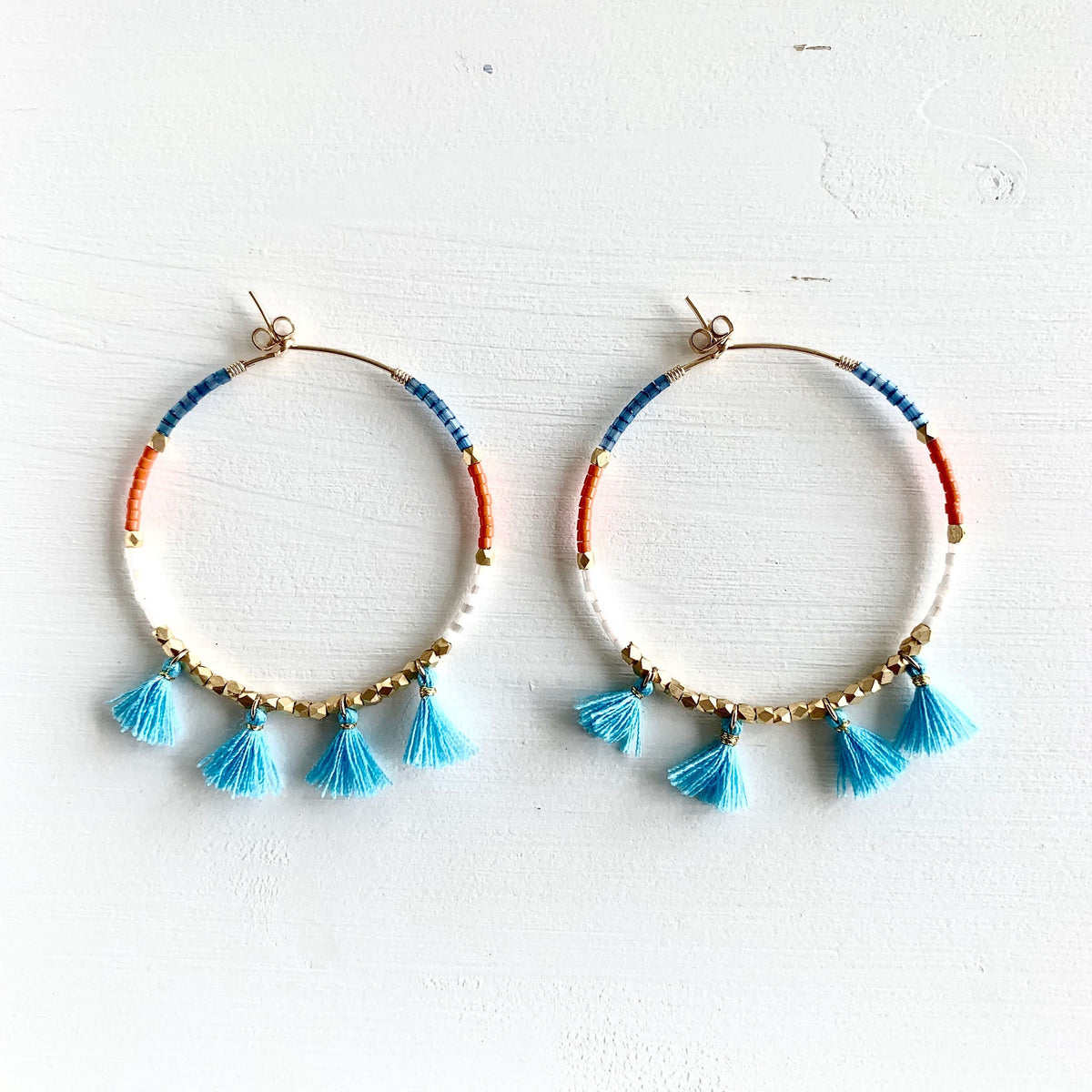 blue tassel seed bead earrings