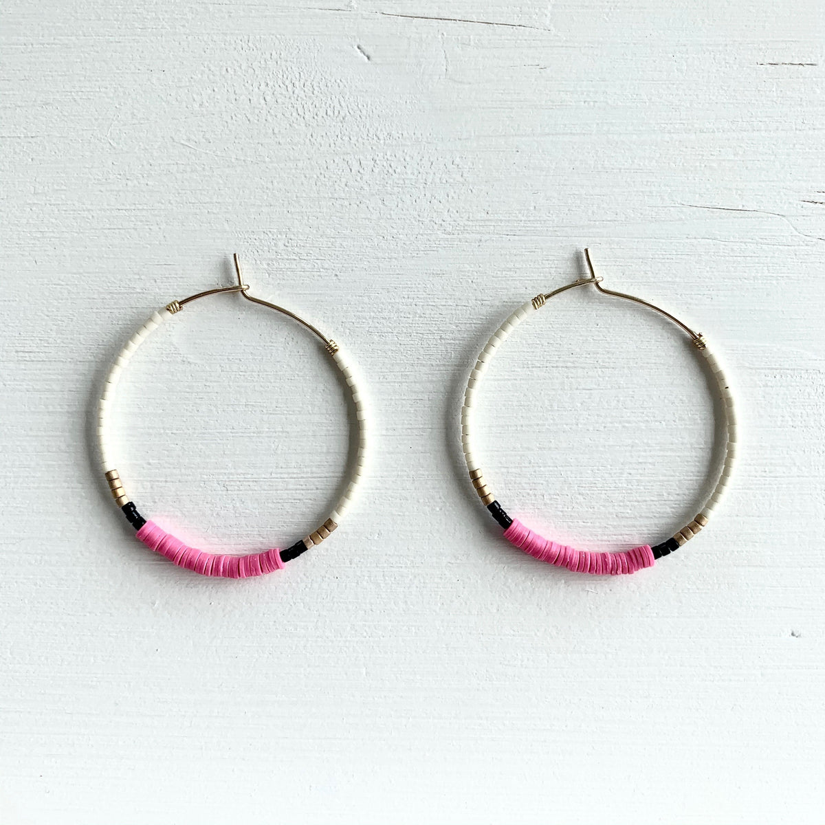 pink seed bead hoop earrings