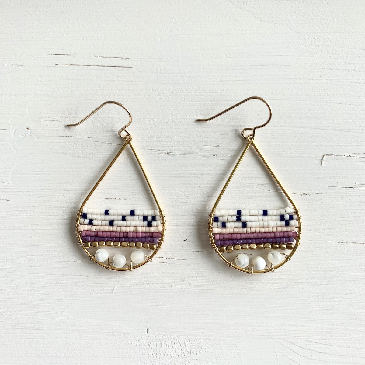 purple seed bead teardrop earrings