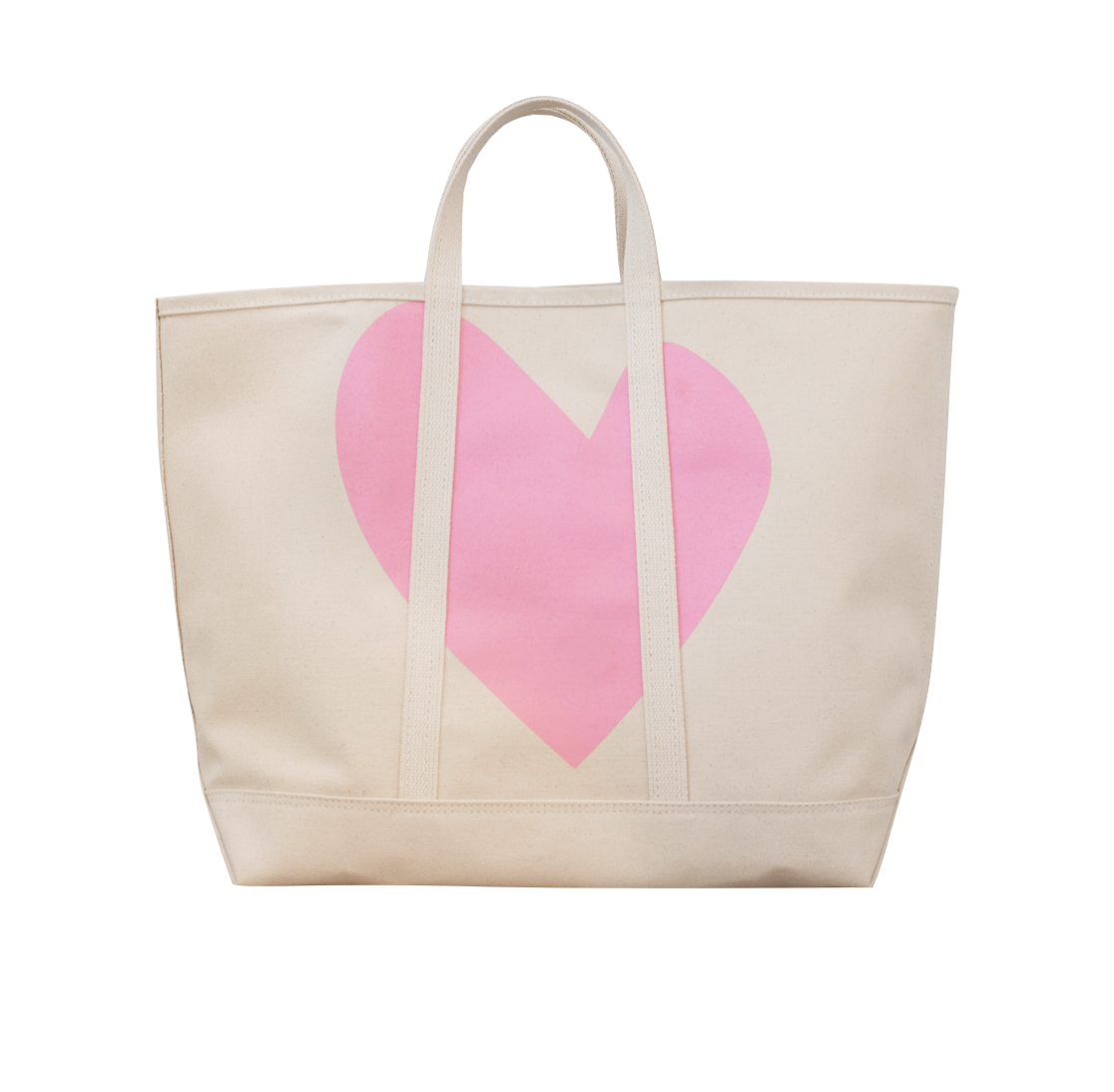 Bubble Pink Imperfect Heart Large Canvas Tote