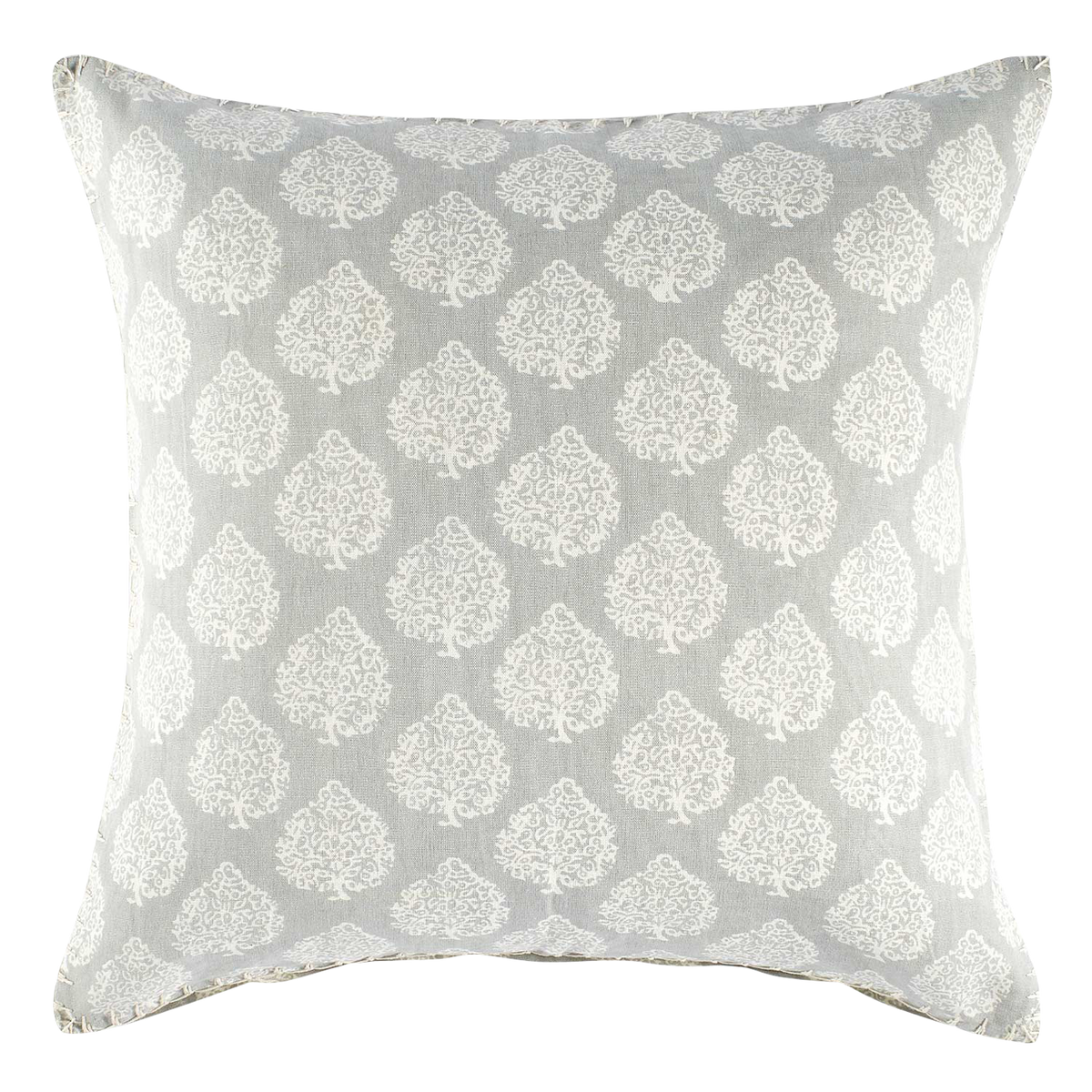Gray and White Blockprint Pillow
