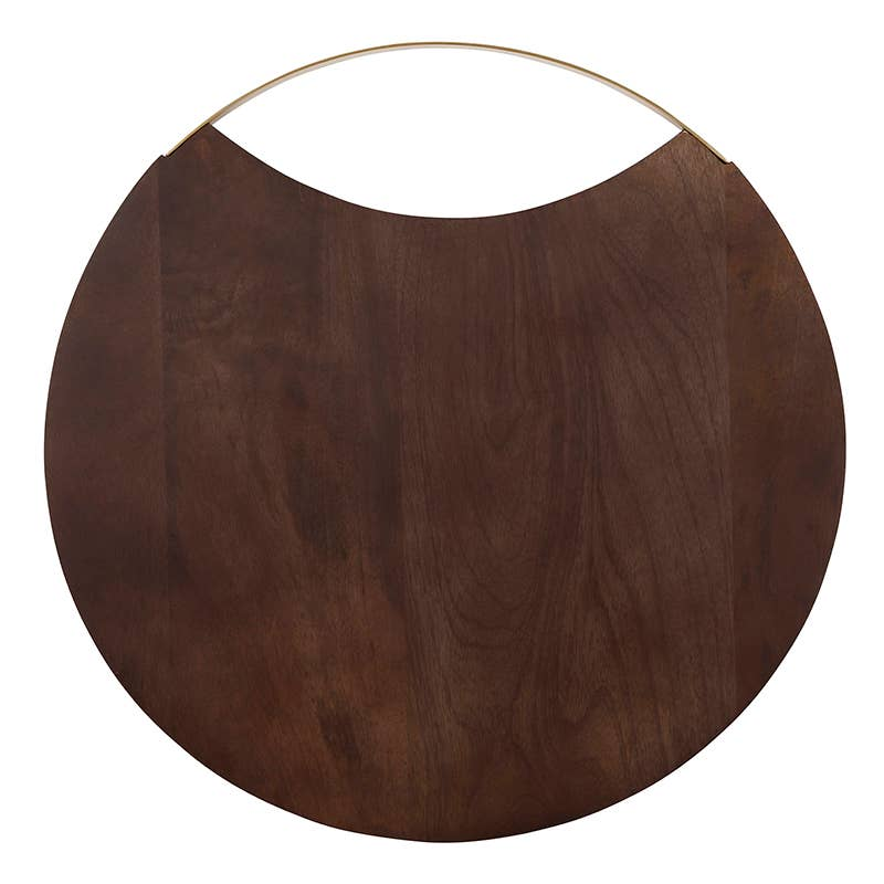 Round Wood and Brass Board