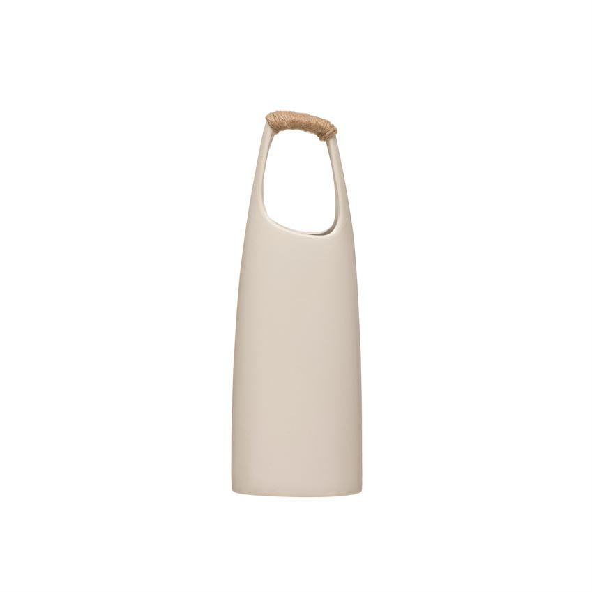 White Vase With Rattan Wrapped Handle