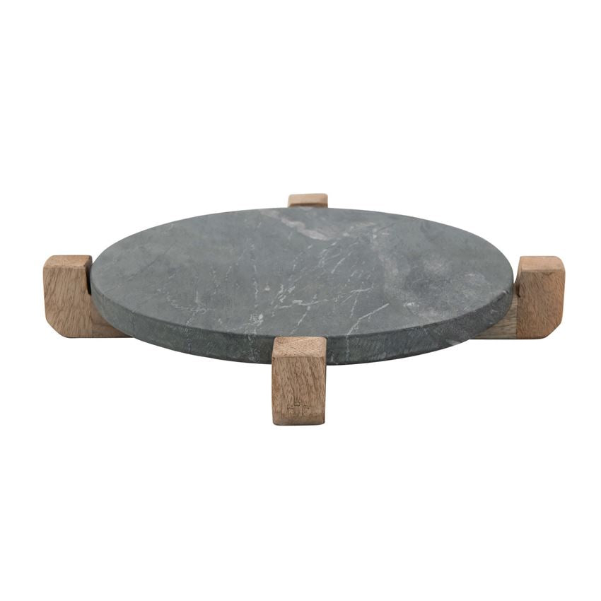 Marble Serving Board with Mango Wood Stand