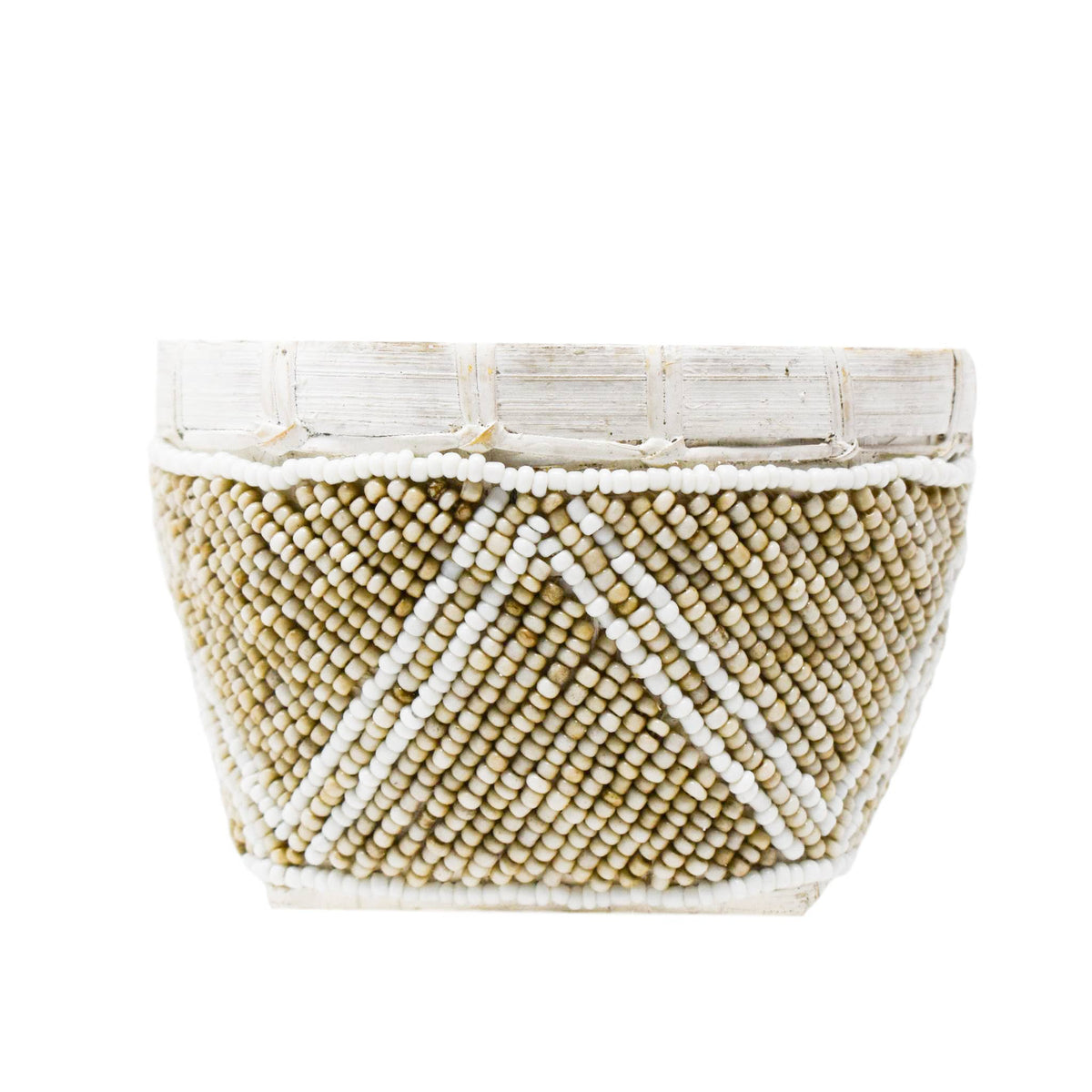 Beaded Basket: Cream/White