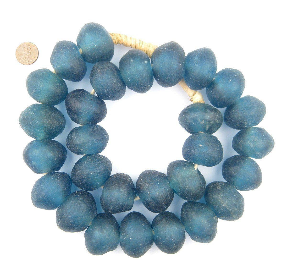 33mm Super Jumbo Light Blue Recycled Glass Beads