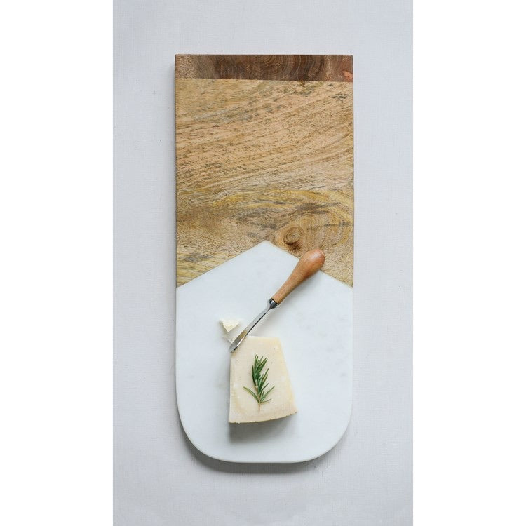 Marble And Wood Board With Canape Knife