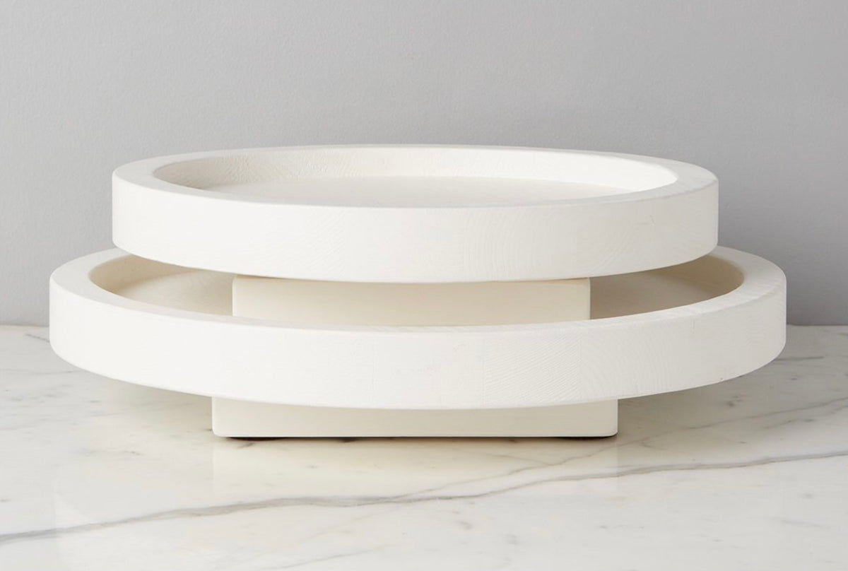 White Nesting Lazy Susan Small