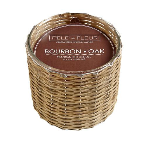 bourbon oak 2 wick handwoven candle 12oz