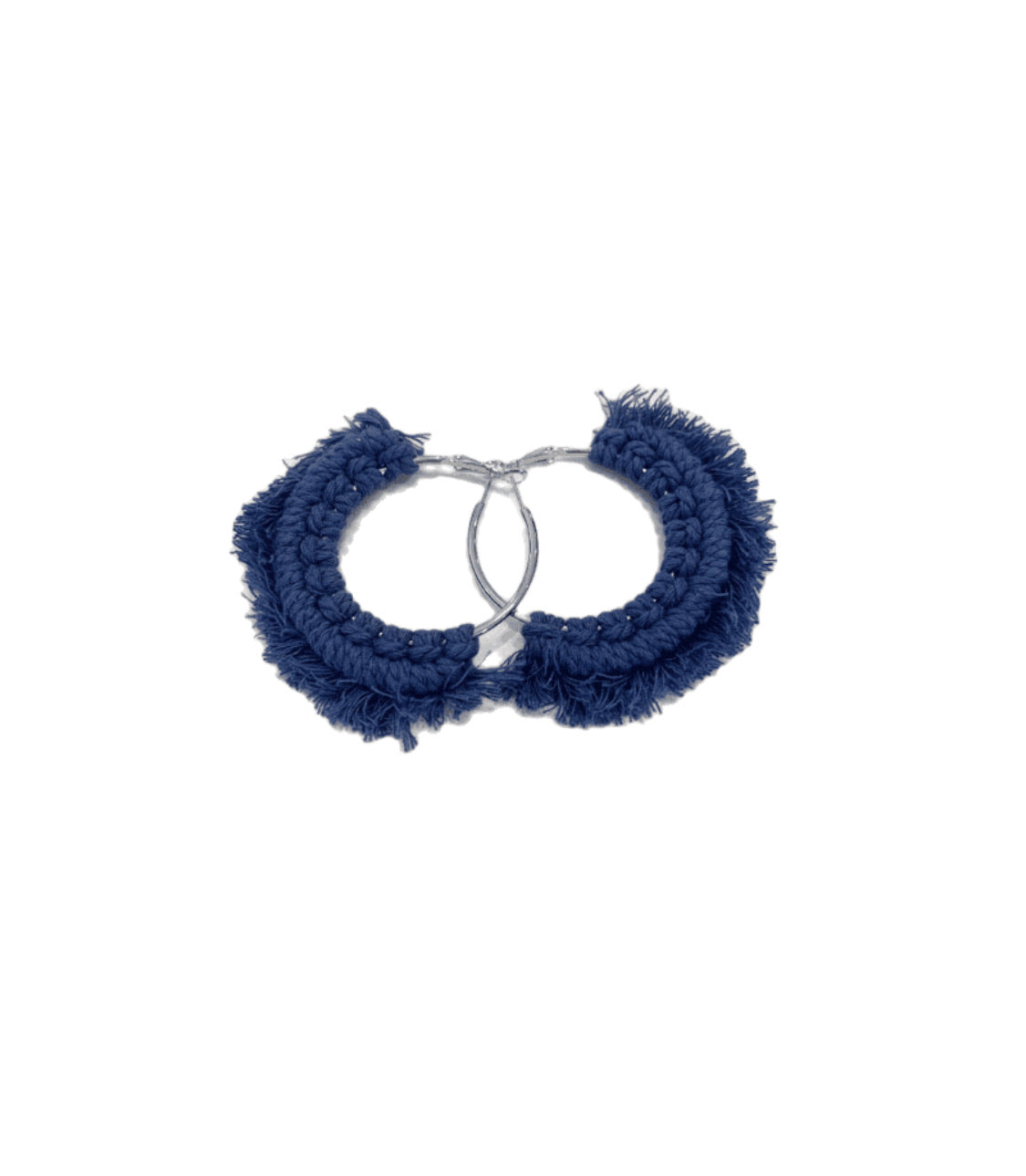 Blue Crochet Hoop Earrings