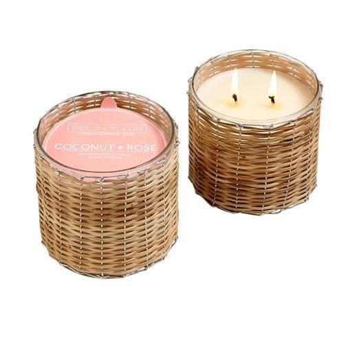 coconut rose 2 wick handwoven candle 12oz