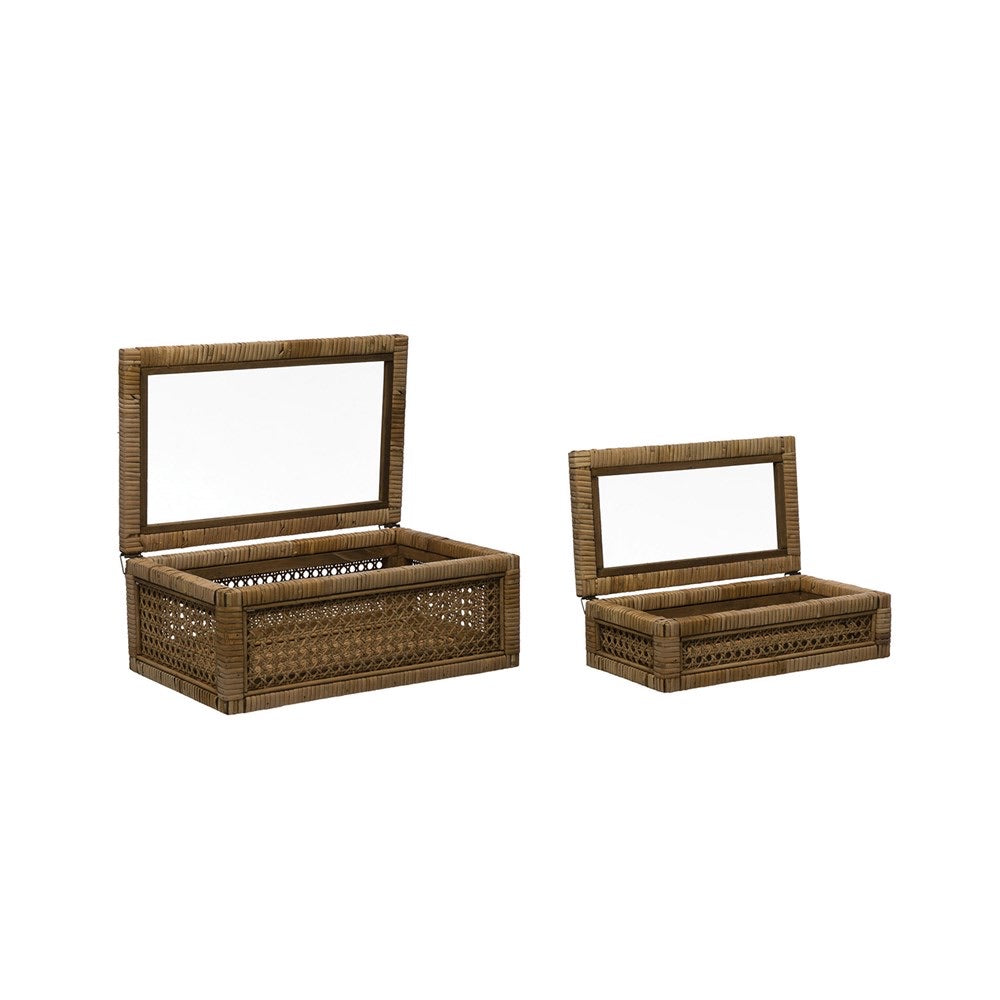 Woven Rattan and Wood Boxes