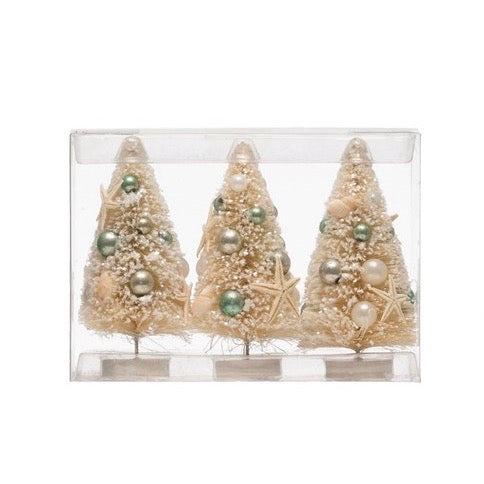 Bottle Brush Trees with Shells & Ornaments