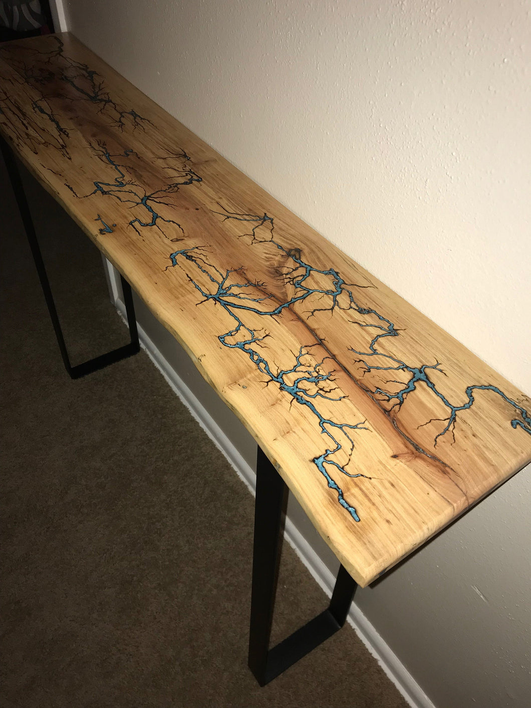 Lichtenberg Figure Table With Colored Epoxy Inlays