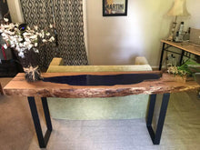 Load image into Gallery viewer, Mesquite Slab Behind Couch Table with Blue Glass Inlay