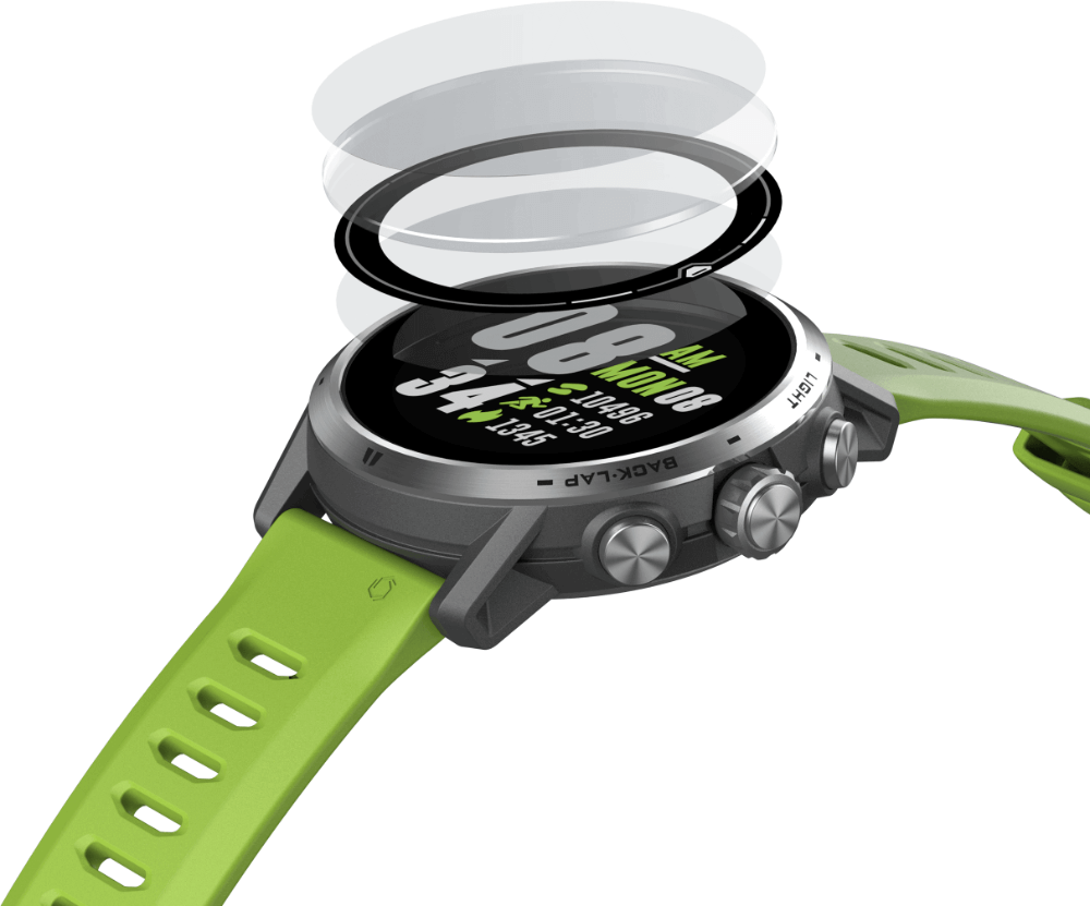 COROS Apex Pro - titanium frame, sapphire glass screen and 100m waterproof rating. Robust and premium sport watch weighing only 59g - including watch band.