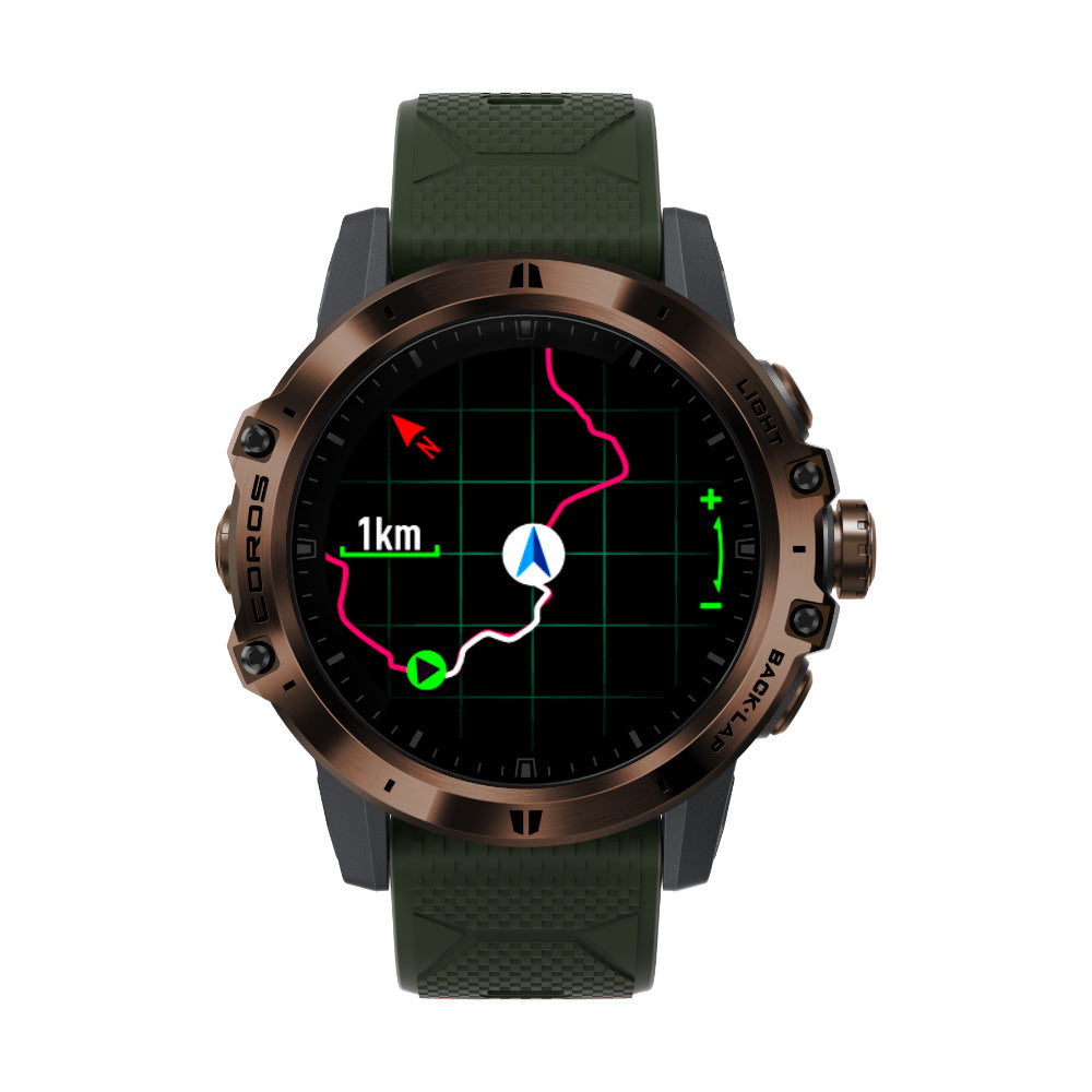 COROS Vertix - equipped with track and navigation features. Track back to start, be navigated by an uploaded route.