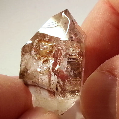 Windowed scepter Brandberg Quartz crystal from Gobobos