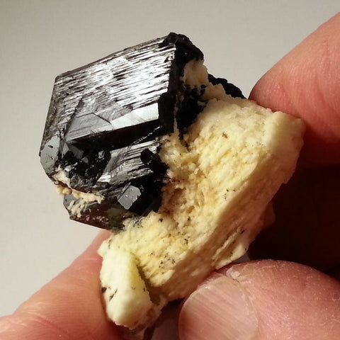 Jet Black Tourmaline Schorl Crystal in Creamy Feldspar from Erongo BLT-208