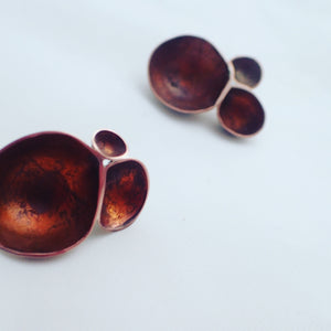 Copper domes. Silver backed stud earrings.