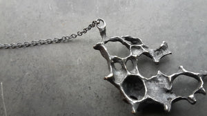 Real honeycomb necklace. Oxidised Silver.