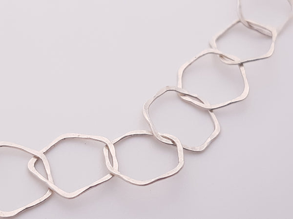 Hammer textured honeycomb chain. Handmade in Silver.-jewellery-Beca Beeby