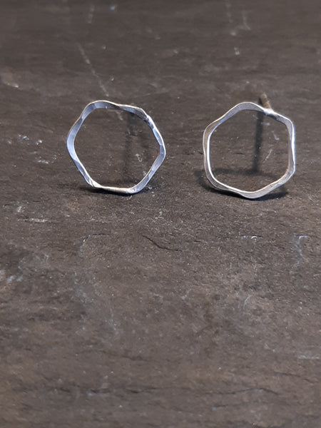 Honeycomb Hex earrings. One cell studs. Ecosilver-Jewellery-Beca Beeby