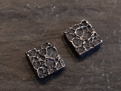 'Burnt milk' Organic textured studs. Oxidised Ecosilver.-Jewellery-Beca Beeby