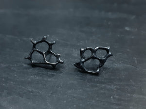 'Cells' abstract stud earrings. Honeycomb cell, Handmade in oxidised silver.-Jewellery-Beca Beeby