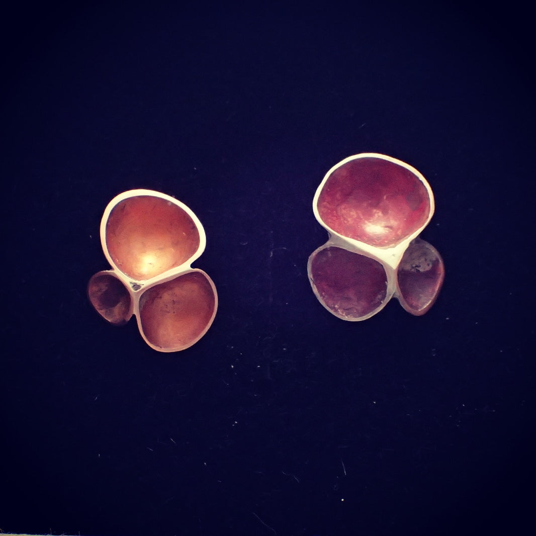 '3' Earrings. Domed Copper & Silver Handmade Earrings-Jewellery-Beca Beeby