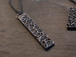 'Burnt Milk' pendant. Textured pendant on 45cm chain. Oxidised eco silver.-Jewellery-Beca Beeby