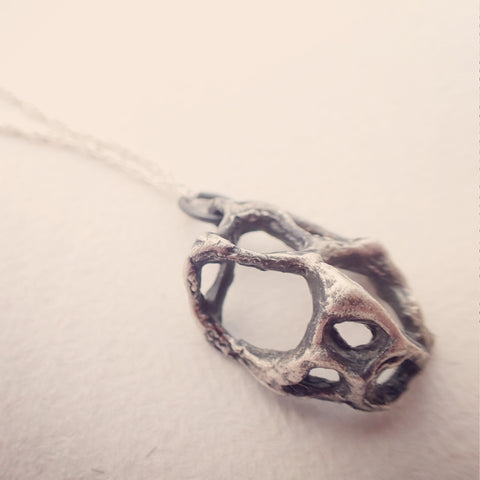 Carved honeycomb cage pendant. Oxidised silver necklace.-Jewellery-Beca Beeby