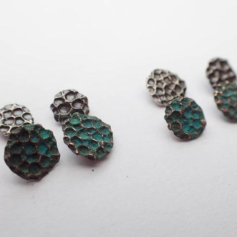 'Manta Ray' Textured patinated copper earrings.-Jewellery-Beca Beeby