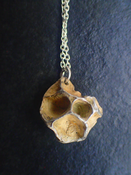 Wild Honeycomb Unique Silver necklace. Small pendant in oxidised or whitened silver-Jewellery-Beca Beeby