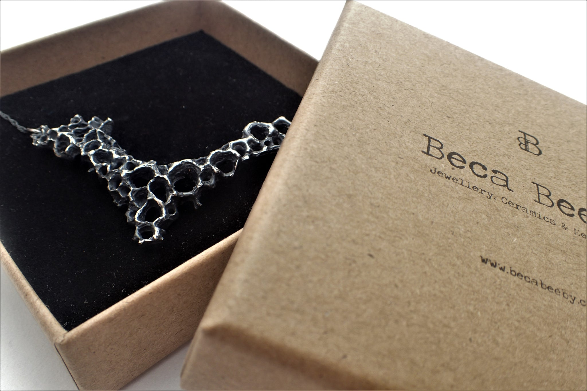 Morphogenetic Necklace. Hand carved, oxidised Ecosilver-Jewellery-Beca Beeby