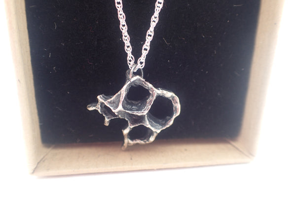 Wild Honeycomb Unique Oxidised Silver necklace.-Jewellery-Beca Beeby