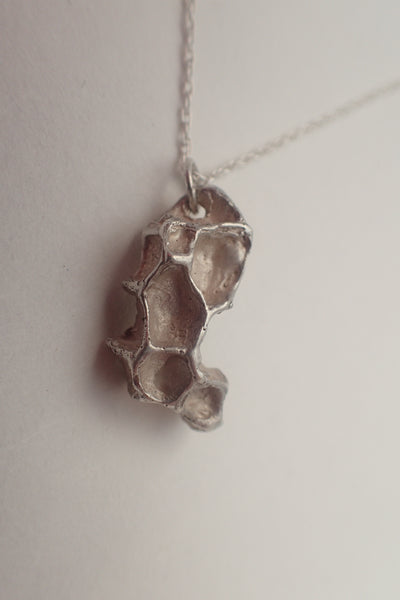 Wild Honeycomb Unique Silver necklace. Small. pendant-Jewellery-Beca Beeby