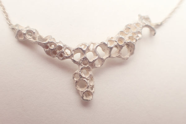 Smaller Carved Silver Necklace in whitened silver.-Jewellery-Beca Beeby