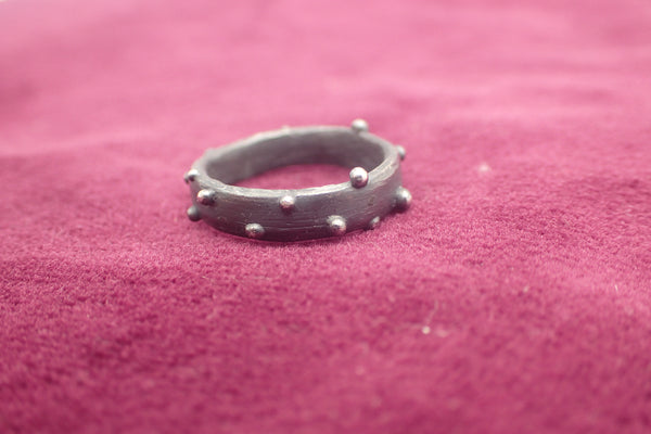 Eroded driftwood & Sea Urchin Ring. Oxidised Silver-Jewellery-Beca Beeby