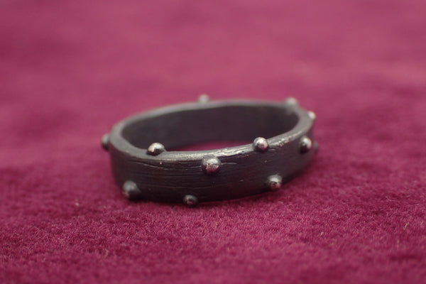 Eroded driftwood & Sea Urchin Ring. Oxidised Silver-Beca Beeby