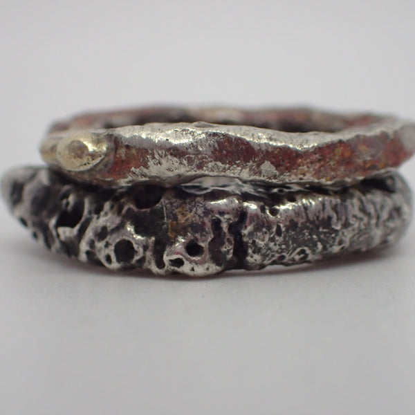Erosion rings. Solid, recycled silver with copper, brass and gold inclusions.-Jewellery-Beca Beeby