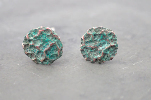 'Burnt milk' Organic textured studs. Patinated Copper.-Jewellery-Beca Beeby