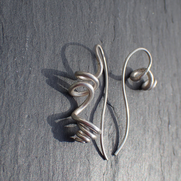 Silver tendril earrings, unique & handmade.-Jewellery-Beca Beeby