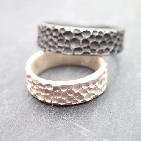 Manta Ray textured ring in oxidised silver.-Jewellery-Beca Beeby