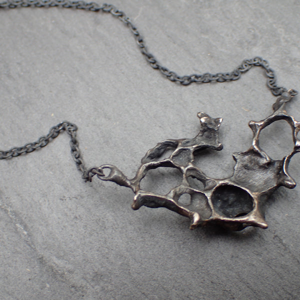 Wild Honeycomb Oxidised Silver necklace.-Jewellery-Beca Beeby