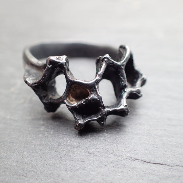 Wild honeycomb ring, oxidised silver with gold cell.-Jewellery-Beca Beeby